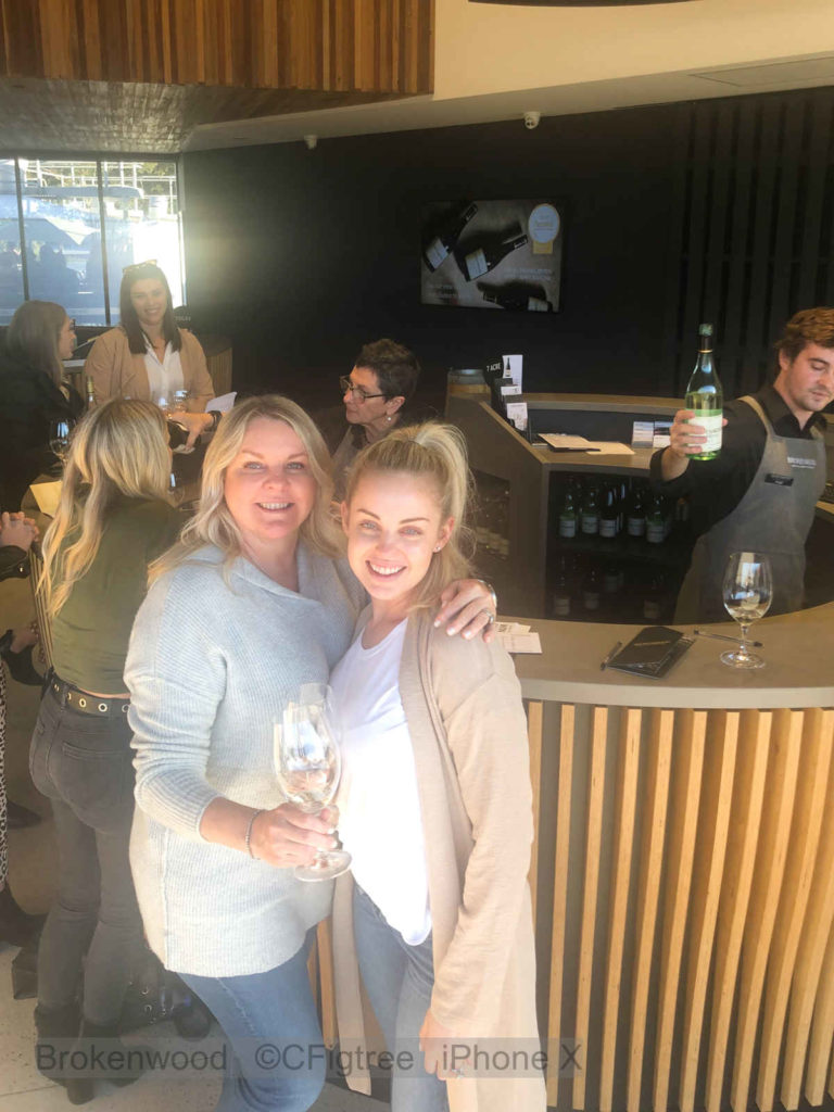 Mother and Daughter enjoying wine tasting at Brokenwood