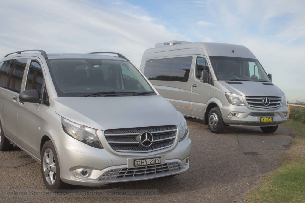 One of our small vans and our mini bus / coach for hire