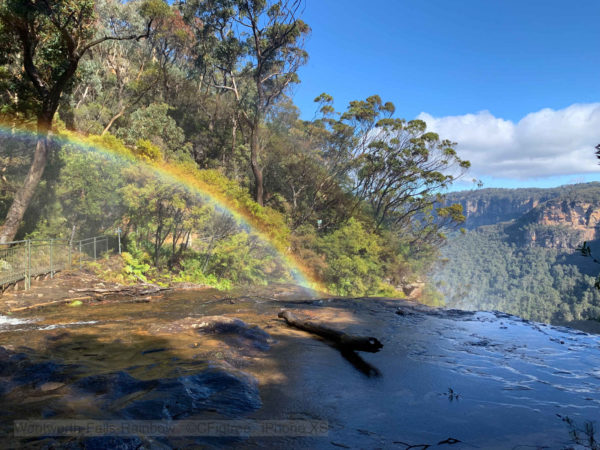 A rainbow a top the Waterfall at Wentworth Falls the Blue Mountains