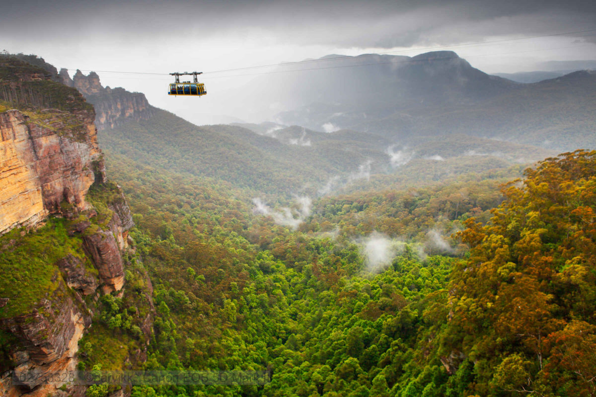Scenic World Skyway with clouds below