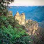 Three Sisters with Ferns in the foreground