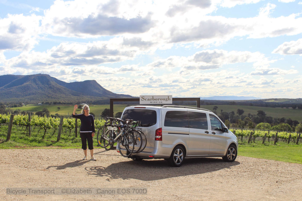 Transport Vehicle at the Hunter Valley overlooking Broke mountain range from Scarborough Wines